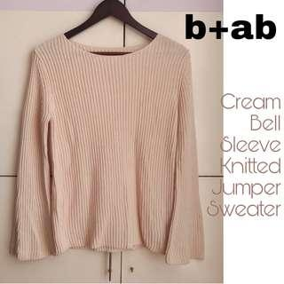 b+ab Bell Sleeves Cotton Wool Knit Sweater [Small]