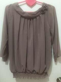 Coffee Color Chiffon Top with Flower Details