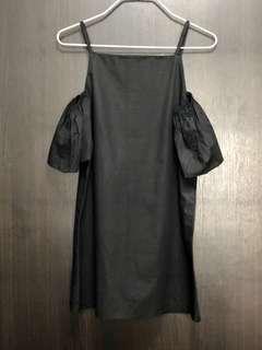 Black mini cold shoulder dress