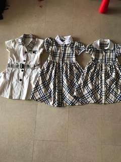 Burberry dresses (suitable for 2-5 years o)