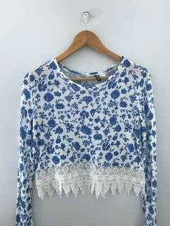H&M blue floral long sleeves top with lace detail