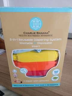 Charlie Banana Cloth Diapers One Size (Pack of 6 with 12 Inserts) - Tutti Frutti