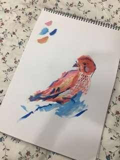 Birdie Watercolor Painting