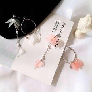 Asymmetrical Petal Drop Earrings (Pink)