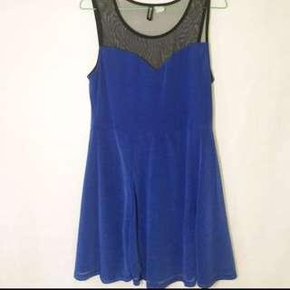 H&M Blue Skater Dress / Dress Biru