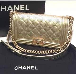 Authentic Gold Chanel Boy old medium