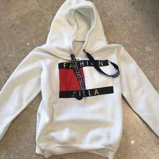 white hoodie