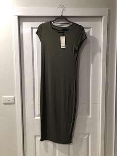 Boohoo khaki dress