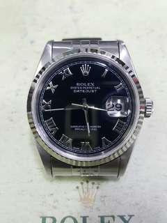 ROLEX OYSTER DATEJUST 16234 black romen dial 36mm