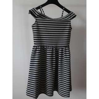 Mango Black & White Striped Dress
