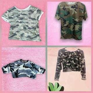Camo crop tops/ tee all size small