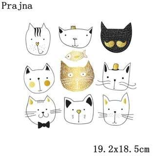 Iron on Patch Cute Kitty Cats purrr t-shirt Fabric patch
