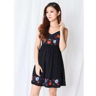 8c9ff09fcf 🌹Topazette Soleil Embroidered Floral Slip Black Dress🌹