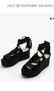Lace-up platform sandals (BN Charles n Keith)