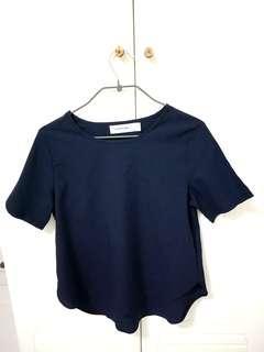 The Editor's Market Navy Blue Basic Shirt Top Short Sleeve