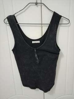 Cotton On Ribbed Tank Top Acid-Washed Heather Black