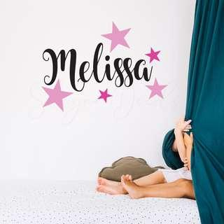 Customize Girls and Boys Room Name Decal with Stars
