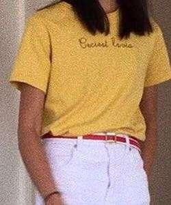 Yellow embroidered t shirt