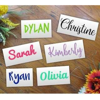 Customized names -  Waterproof Vinyl Decals and Iron on Patch for Fabric or t-shirt