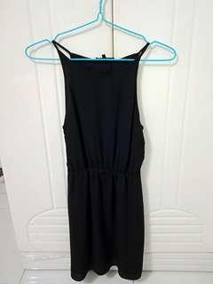 Black Halter-Neck Romper Dress