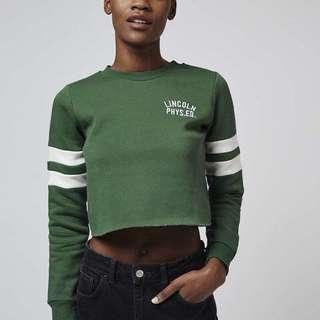 TOPSHOP Lincoln Phys Ed Green Cropped Jumper / Sweater
