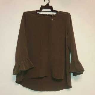 PDI Army green Ruffle blouse