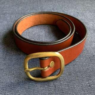 Handmade in USA Bridle Leather Belt w Solid Brass Rounded Buckle