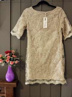 Gold Embroided Shift Dress