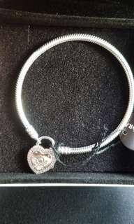 Pandora Lock your promise bracelet fancy fuchsia pink and clear cz