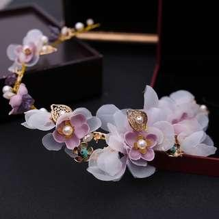 新娘飾品Handmade 粉色珍珠絹紗頭花套裝 ( 頭飾  ) ( 全實物拍攝 ,  未經任何修飾)