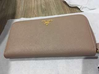 Authentic Prada zip around wallet