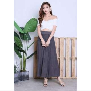 💖 Topazette Dark Grey Hartly Pleated Maxi Skirt 💖