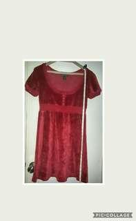 Mango red velvet dress