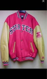 Vintage Starter Varsity Snap Button Wool Blend Jacket With Leather Sleeve XL