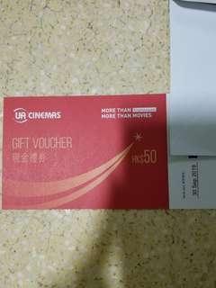 <66 折> UA 戲院 50 元 現金券 禮券 戲飛 睇戲 電影 Cash Coupon Voucher Gift Movie Tickets