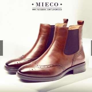 Mieco高質感真皮英倫靴(賣棕色)