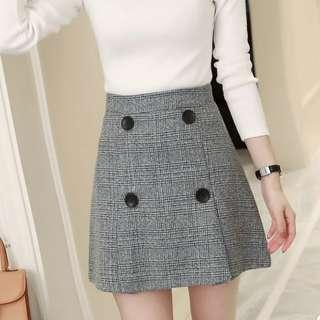 💖Dark Grey Plaid Checkered Tweedle Button Skirt💖