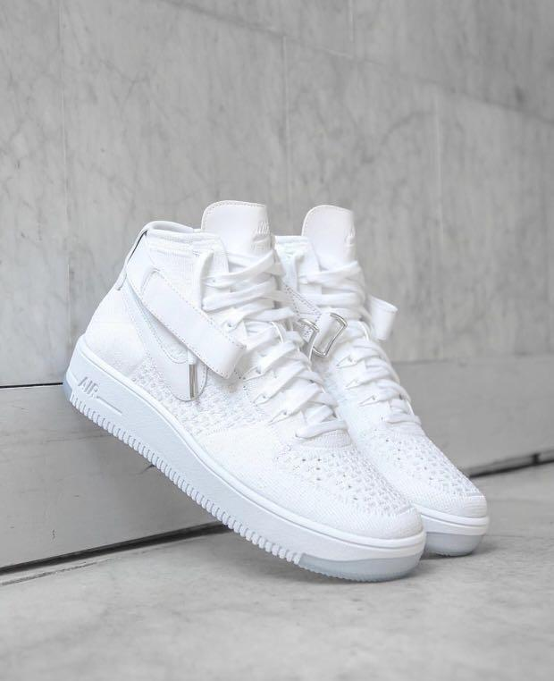 online store 95101 fd0a9 Air Force 1 Ultra Flyknit Mid Triple White, Men's Fashion ...