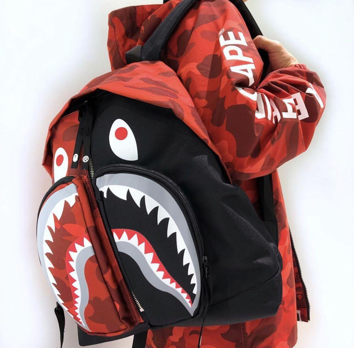 Bape Shark Backpack >> Bape Backpack Bape Shark Day Pack Bape Color Camo Shark Day Pack