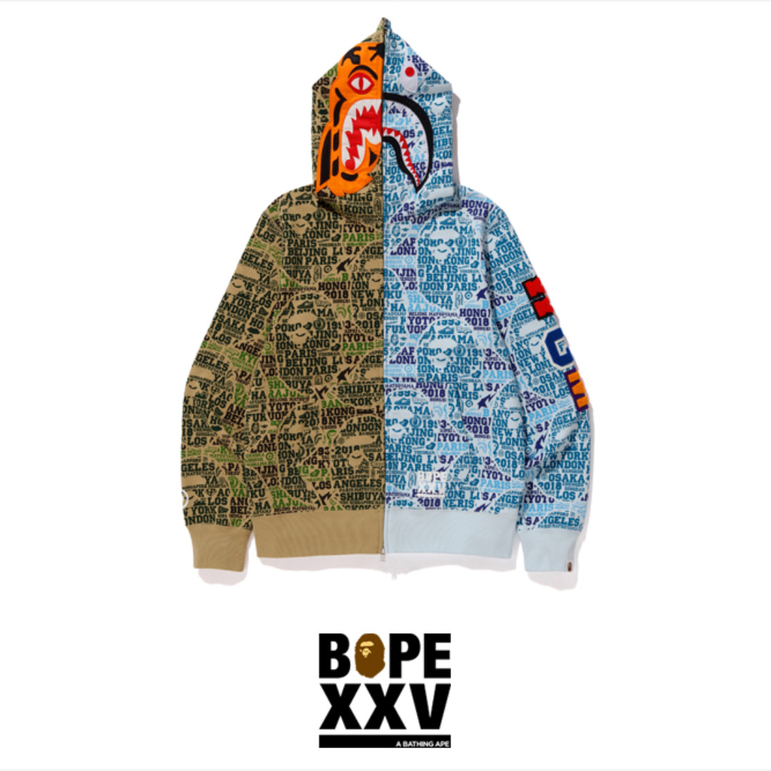 e0aab2a4 BAPE XXV Cities Camo Tiger Shark Half Full Zip Hoodie, Men's Fashion,  Clothes, Tops on Carousell