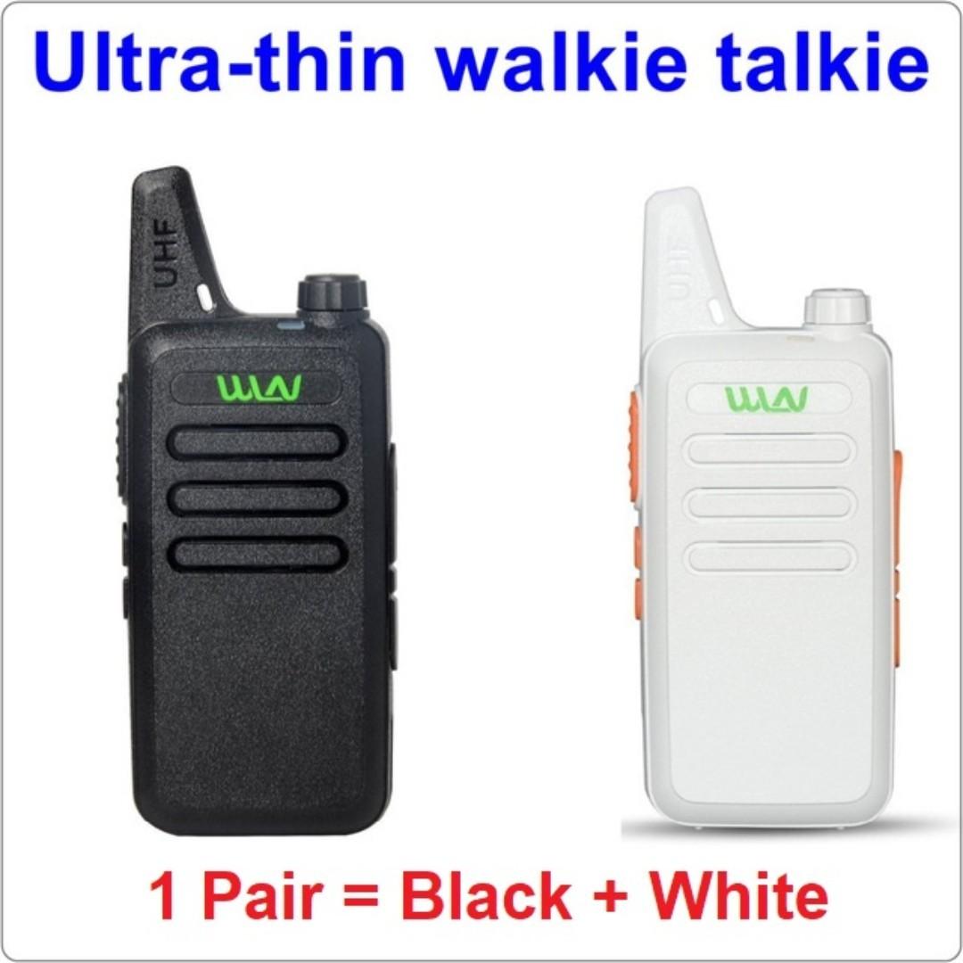 Black and White (One pair [2 pcs]), military grade! WLN KD-C1 Mini UHF 400-470 MHz Handheld Transceiver Two Way Ham Radio HF Communicator Walkie Talkie Long ...