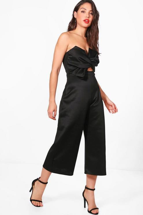68a13d052248 Boohoo Bow Strapless Black Jumpsuit (ASOS)