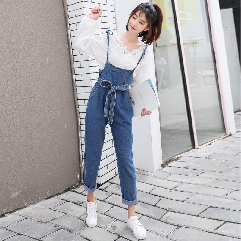 5a238a00ab Denim Blue Coloured Ribbon Tie Korean Style Overall Jumpsuit ...