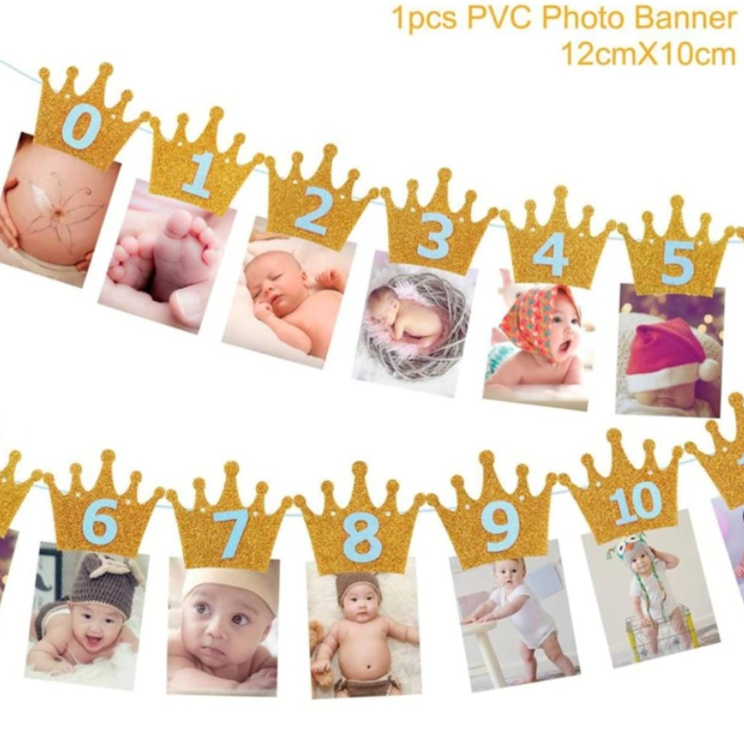 First Birthday Banner Flag Monthly One Year Old Baby Shower Boy 1st