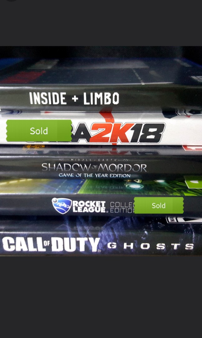 Inside limbo , nba 2k18, shadow of mordor goty, call of duty ghosts rocket  league ps4 game