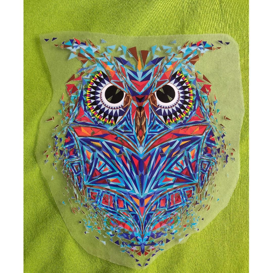 Iron on Patch - Geometric Owl t-shirt fabric patch