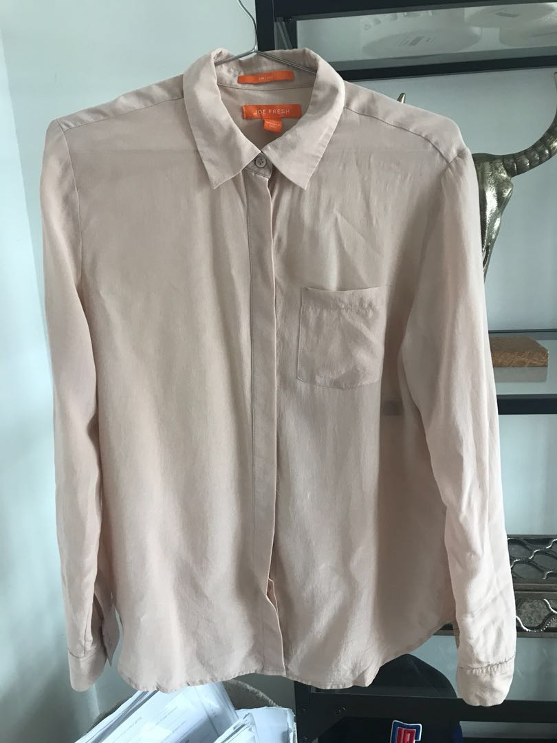 6f1da47625246 Joe Fresh Silk Blush Nude Pink Concealed Buttons Shirt
