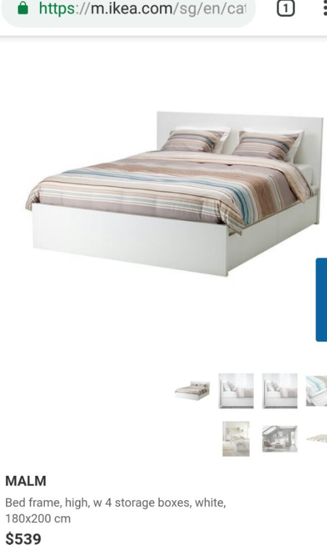 Malm king size bed and mattress to sell