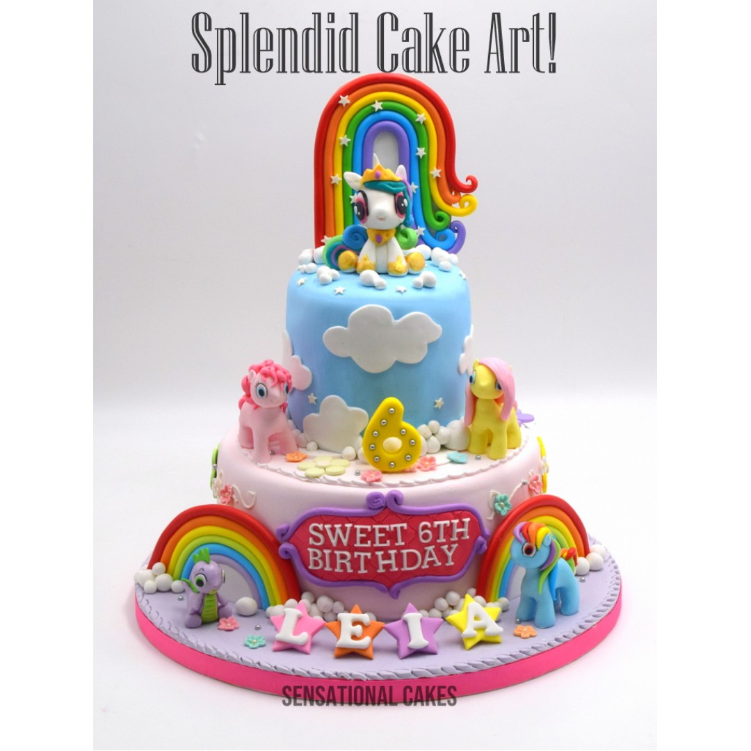 My Little Pony Rainbow 2 Layer Pastel Colors Girls Theme Cake