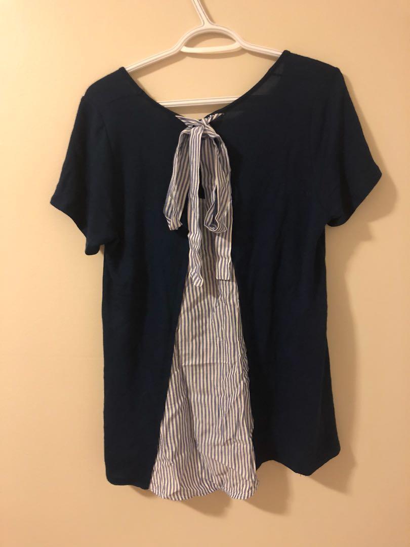 Navy Blue Tie Top